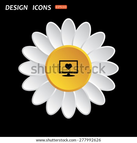 White daisy flower. Flat design style. computer and heart, cyber-love symbol. icon. vector design
