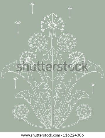 white dandelion with some seeds on green background