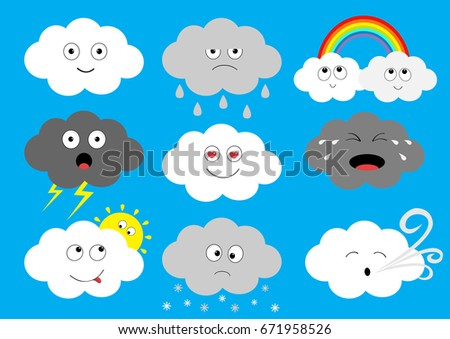 white dark cloud emoji icon set