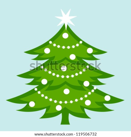 White decorated Christmas tree. Vector illustration
