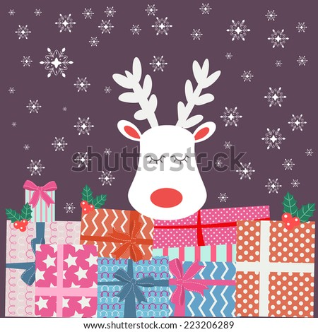 white deer and gift boxes