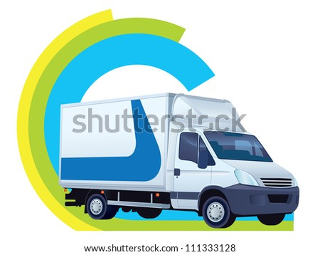 White delivery truck in a delivery sign