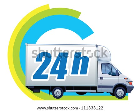 White delivery truck in a sign free delivery - stock vector
