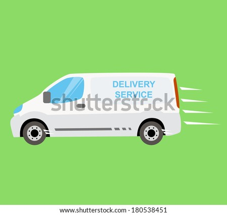 White delivery van on the green background. Fast and free delivery on-time isolated vector van illustration. Delivering services and express delivery truck