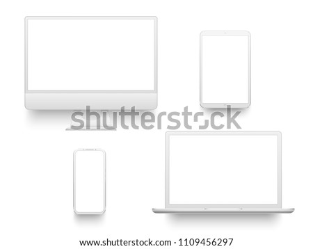 White desktop computer display screen smartphone tablet portable notebook or laptop. Outline mockup electronics devices phone monitor lines realistic simple isolated 3d vector set stock photo