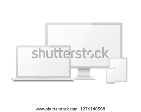 White device mockup. Tablet laptop smartphone screen computer pc display. 3d electronic touchscreen multimedia devices vector isolated