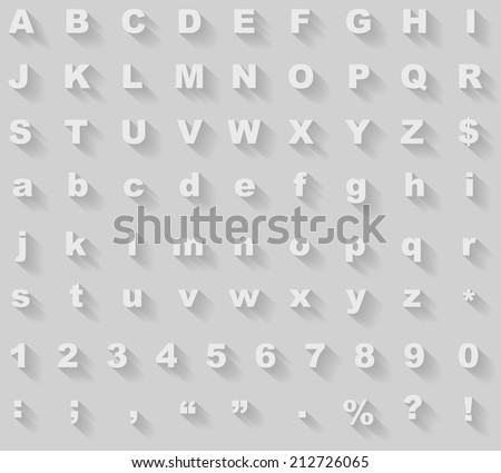 White diagonal long shadow styled alphabet vector template. #212726065