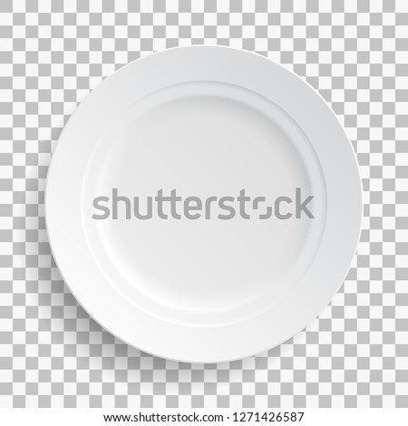 White dish plate isolated on transparent background. Kitchen dishes for food, kitchen, porcelain dishware. Vector illustration for your product, tableware design element.