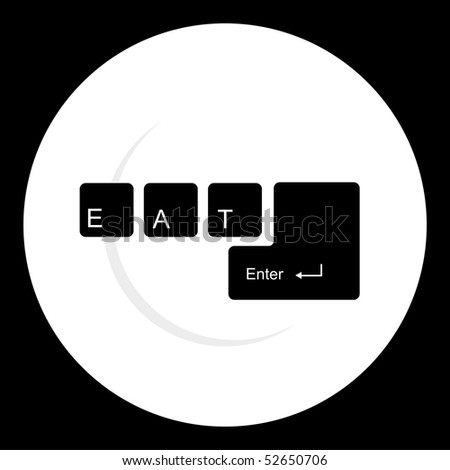 White dish silhouette on black background with keyboard with the legend eat, enter on it.
