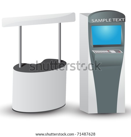 White display and ATM with place for text. Vector illustration.