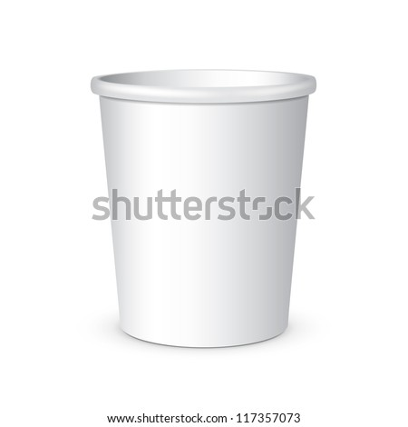 White Disposable Paper Cup. Container For Coffee, Java, Tea, Cappuccino, Dessert, Yogurt, Ice Cream, Sour Sream Or Snack. Ready For Your Design. Product Packing Vector EPS10