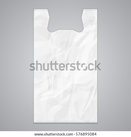 White Disposable T-Shirt Plastic Bag Package Grayscale. Illustration Isolated On Gray Background. Mock Up Template Ready For Your Design. Vector EPS10