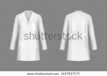 White doctor coat, medical uniform isolated on transparent background. Vector realistic mock up of lab costume front and back view. Clothes for medicine profession, nurse suit, physician robe Stock foto ©