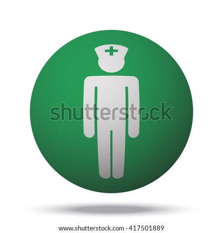 white doctor web icon on green