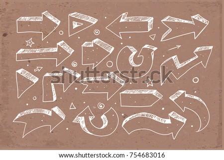 White Doodle sketch arrows on brown parcel paper