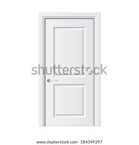 White door isolated on white photo-realistic vector illustration