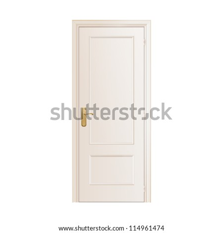White door on isolated background. Vector design.