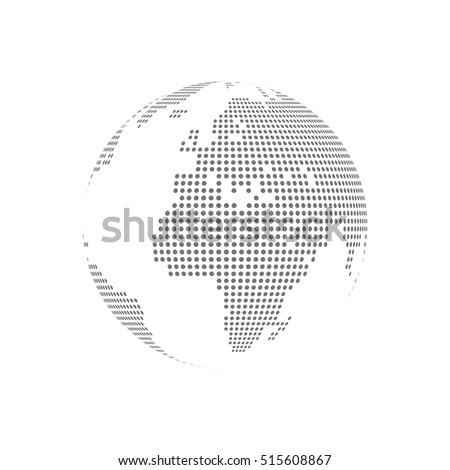 White dotted globe glass transparent vector illustration.