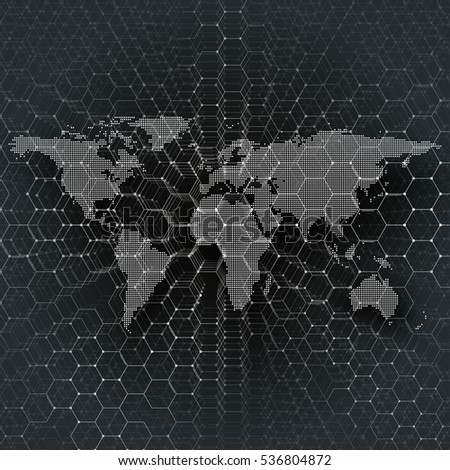 white dotted world map