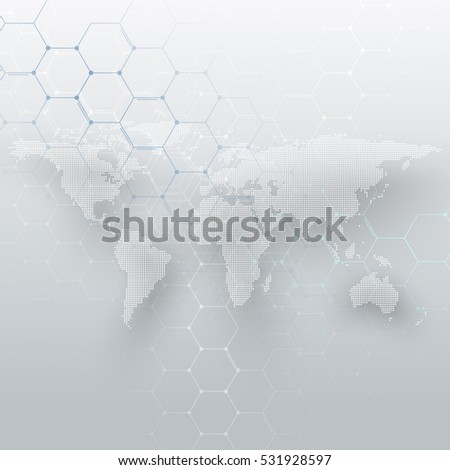White dotted world map, connecting lines and dots on gray color background. Chemistry pattern, hexagonal molecule structure, medical research. Medicine, technology concept. Abstract design vector.