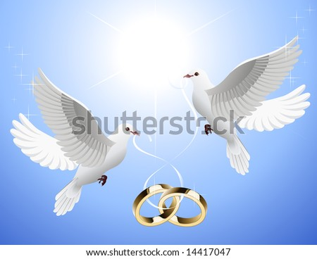 stock vector White doves holding wedding rings vector illustration