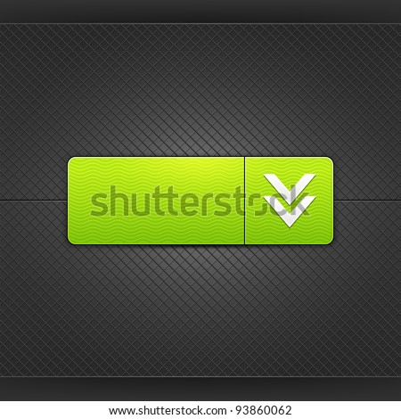 White download sign on rounded rectangle web button. Glowing shape with drop shadow on black metal background. This vector illustrations saved in 10 eps. See more internet button in my gallery
