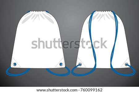 White drawstring bag for template