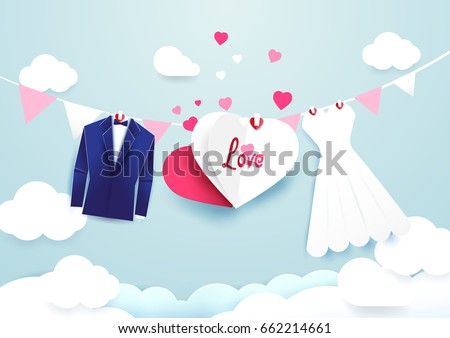 white dress and blue suit with