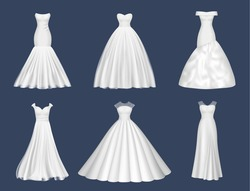 White dresses. Wedding clothes for beauty woman fashion dresses for brides evening party decent vector realistic pictures