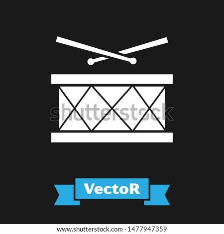 White Drum with drum sticks icon isolated on black background. Music sign. Musical instrument symbol.  Vector Illustration