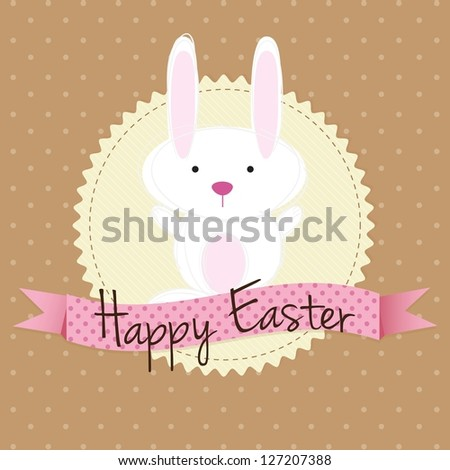 White easter bunny, on vintage background. Vector Illustration - stock vector