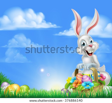white easter bunny with a
