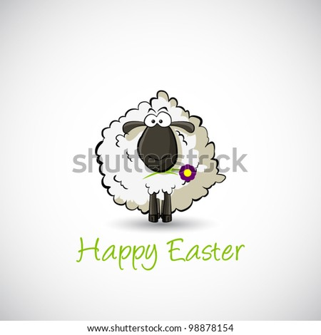 White easter sheep on white background. Vector