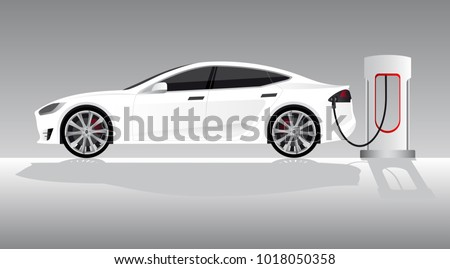 white electric car with