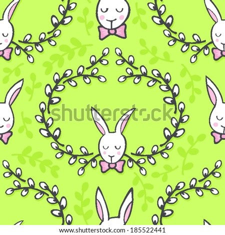 white elegant bunny in willow wreath animal spring holiday Easter seamless pattern on light green background