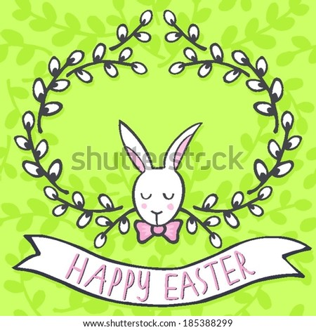 white elegant bunny in willow wreath spring holiday Easter centerpiece illustration with flag banner with wishes in English on light green patterned background