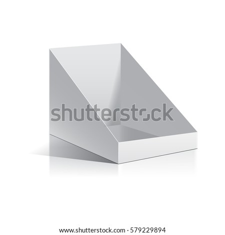 White empty box display. Display on Isolated white background. Mock-up template ready for design. Product Packing Vector