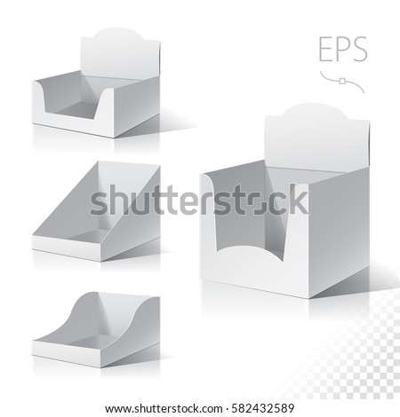 White empty box displays. Display on Isolated white background. Mock-up template ready for design. Product Packing Vector