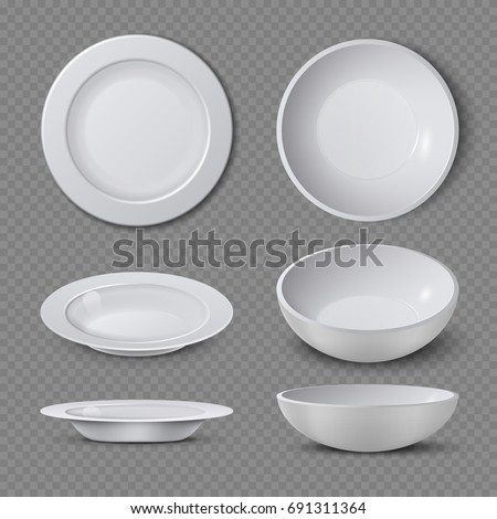 White empty ceramic plate in different points of view isolated vector illustration. Plate and dish clean for kitchen, porcelain dishware