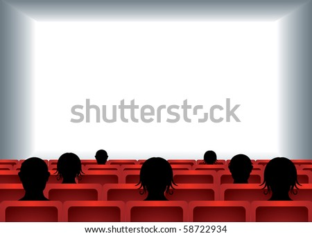 white empty cinema screen with people sitting on red seats in cinema hall