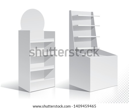 White Empty Displays With Shelves Products.Display on Isolated white background. Mock-up template ready for design. Product Packing Vector