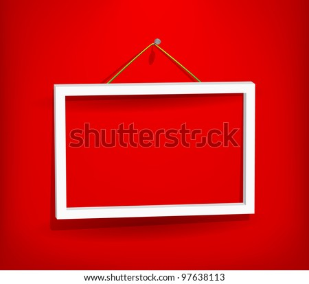 White empty frame hanging on the red wall. Eps10. Used opacity layers for effects shadow