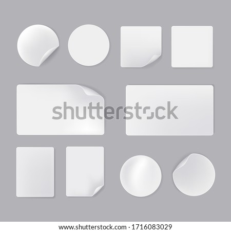 White empty paper stickers isolated set. Vector flat cartoon graphic design illustration