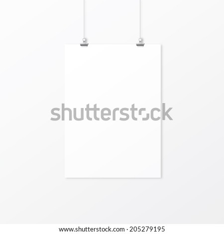White empty paper with clips on the wall