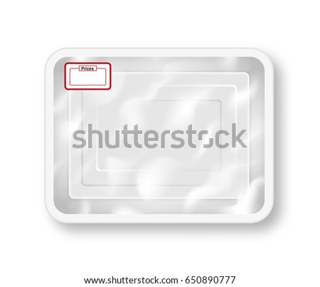 White empty plastic container for food