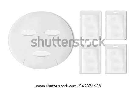 White empty plastic packaging with sheet mask. Blank foil or plastic sachet for food or medicines