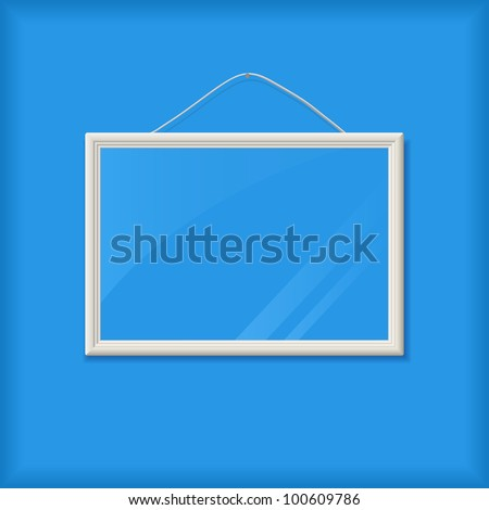 White Empty Ribbed Frame with Glass on Blue Wall. Vector Illustration with Cope-Space for Message