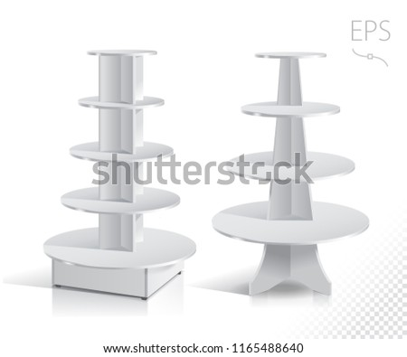 White Empty Rounded Displays With Shelves Products.Display on Isolated white background. Mock-up template ready for design. Product Packing Vector