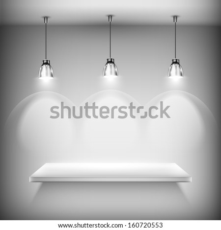 White Empty Shelf Illuminated By Spotlights Vector Illustration