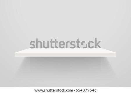 White empty shelf on white wall. Vector mockup Сток-фото ©